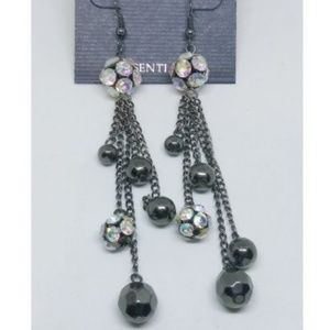 ✨Dangle Earrings AB Rhinestone Black Chainlink 937